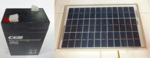 Figura 3. Batería y panel solar del sistema de alimentación autónomo.